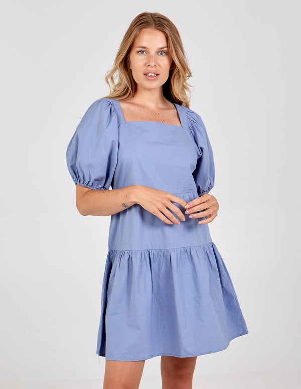 VICTORIA - Square Neck Puff Sleeve Tiered Dress