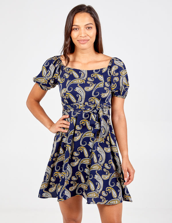 DAISIE - Pleated Tie Back Paisley Print Dress