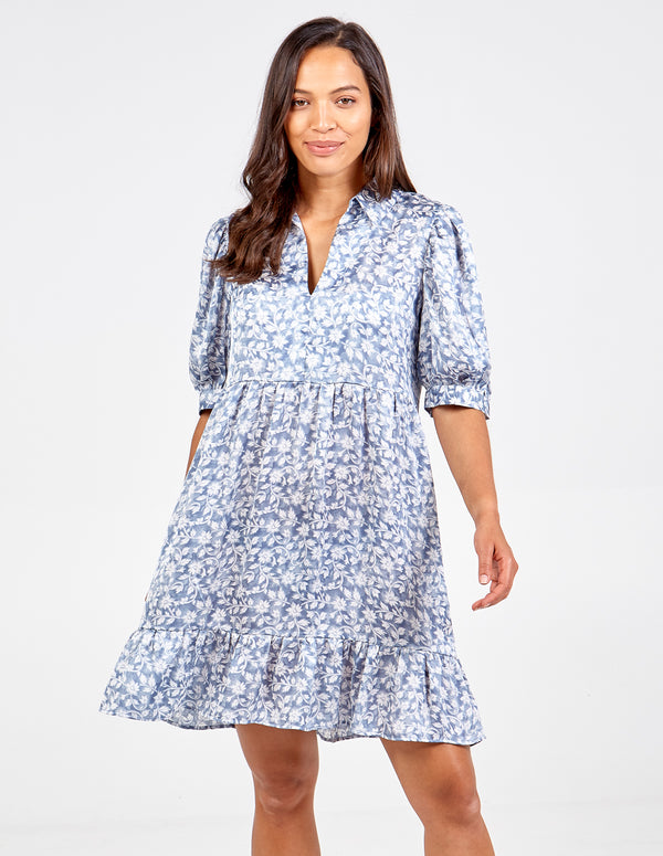 ANTONINA - Collar Puff Sleeve Smock Dress