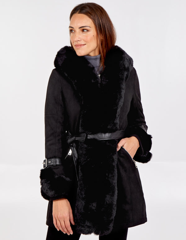 FIAMMA - Edge to Edge Fur Trim Hood Coat