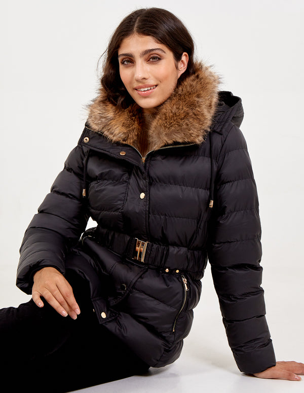 ISA - Belted Fur Collar Puffer Coat