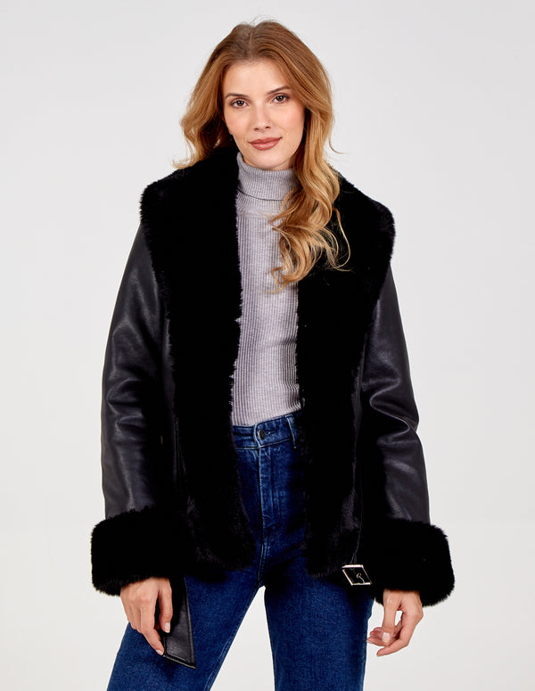VITTORIA - Faux Fur Trimmed Jacket
