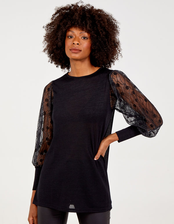 DARCEY - Square Neck Lace Long Sleeve Top