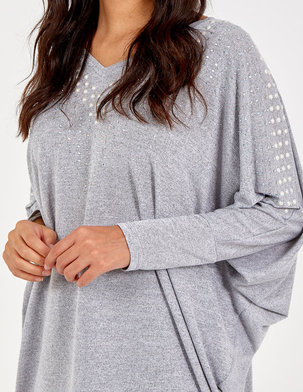 VINCENZA - Embellished Batwing Oversized Top