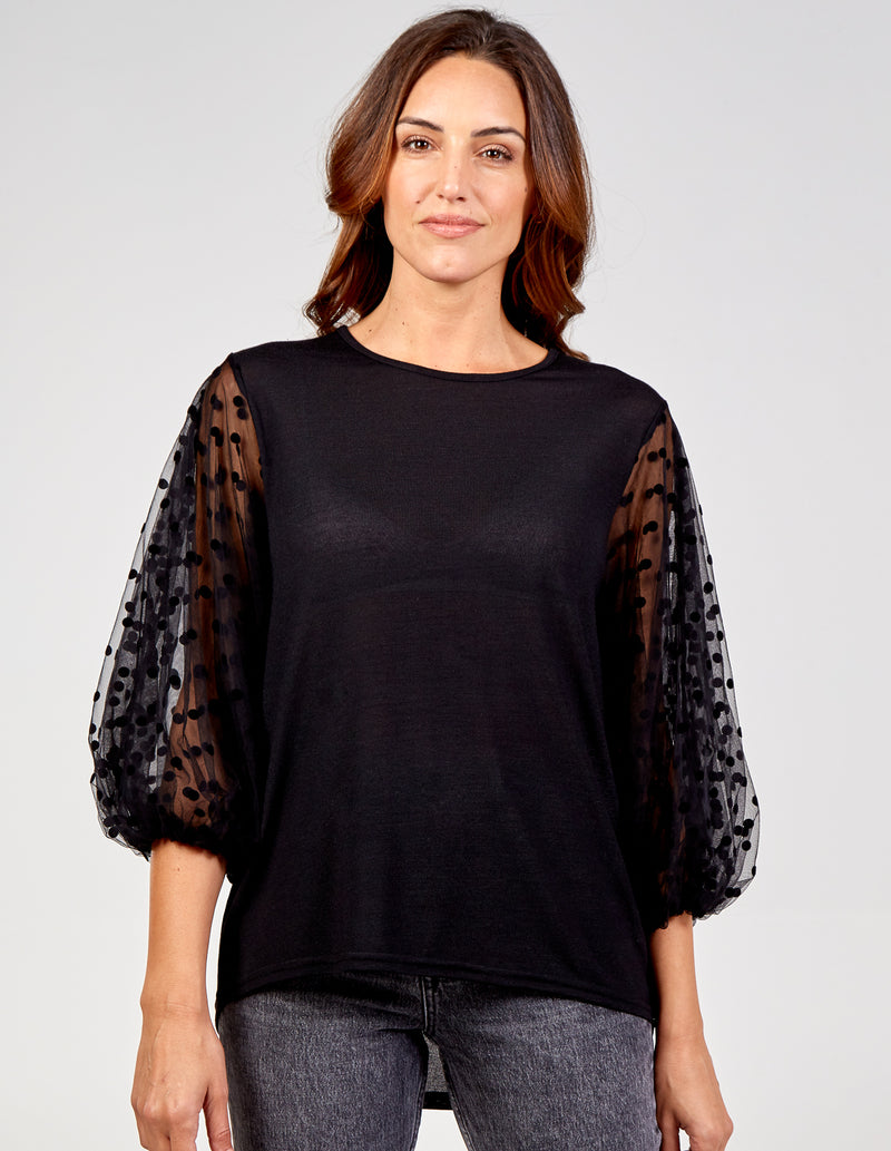 ALICIA - Oversized Mesh Sleeve Top