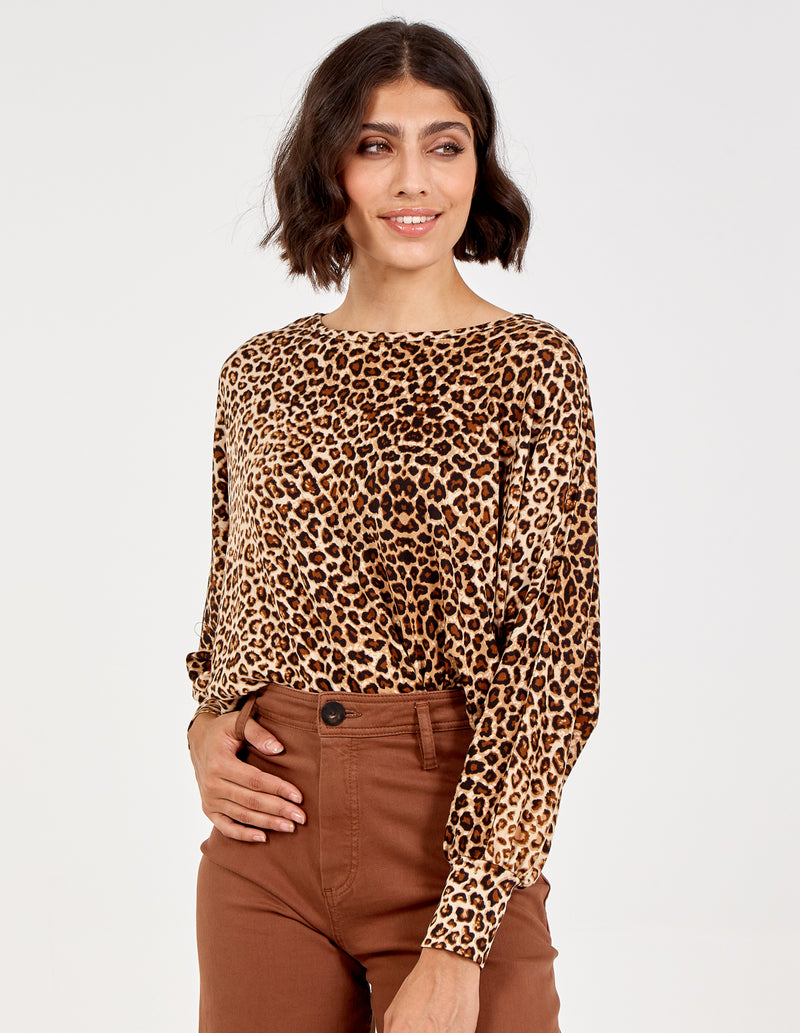 MERCEDES - Animal Print Batwing Top