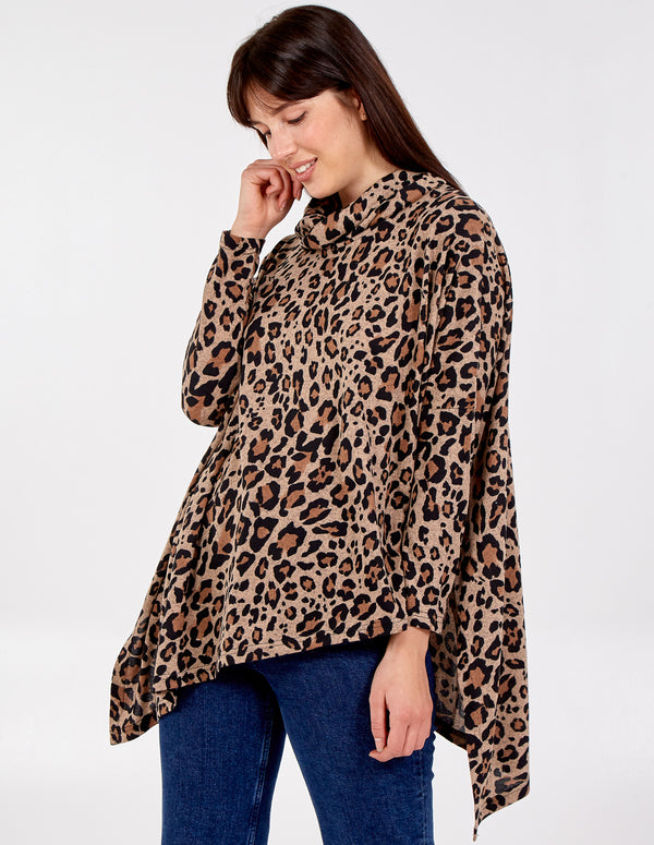 FRAN - Leopard Print Oversized Cowl Neck Top