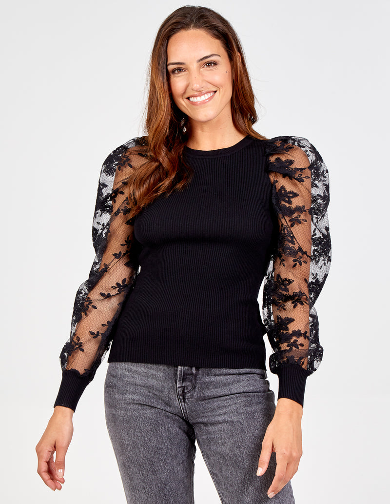 VIRGINIA - Floral Mesh Sleeves Jumper