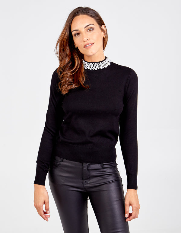 TIZIANA - Pearls Turtleneck Jumper