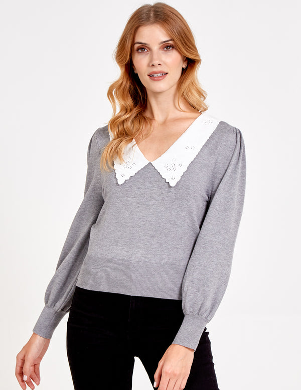 FILIPPA - Embroidered Collar Jumper