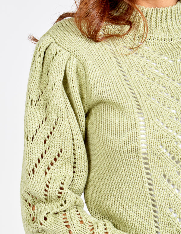 CHANELLE - Crew Neck Crochet Detail Jumper