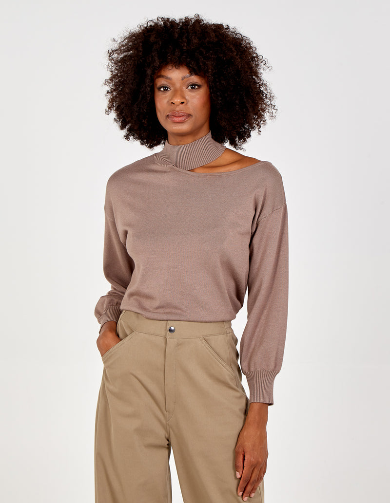 VIRIDIANA - Turtleneck Off Shoulder Top