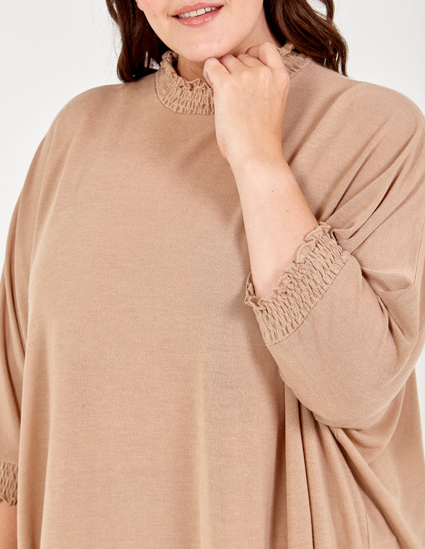 SUSAN - Curve Shirred Collar Asymmetric Top