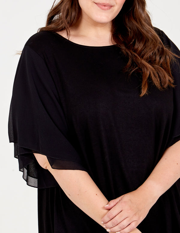 LOLITA  - Curve Hi-Low Frill Sleeve Top