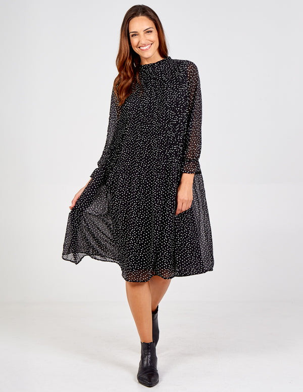 ADELE - Polka Dot Midi Swing Dress