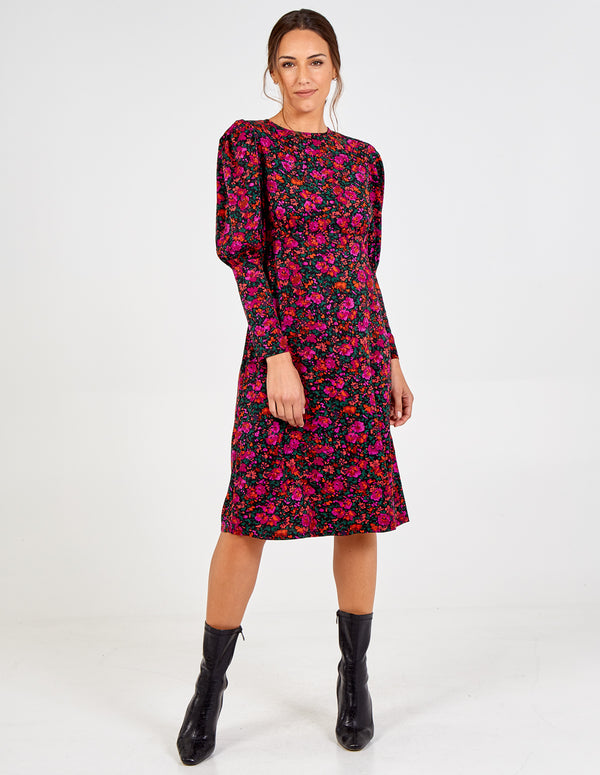 LAURA - Floral Print Contrast Sleeve Midi Dress