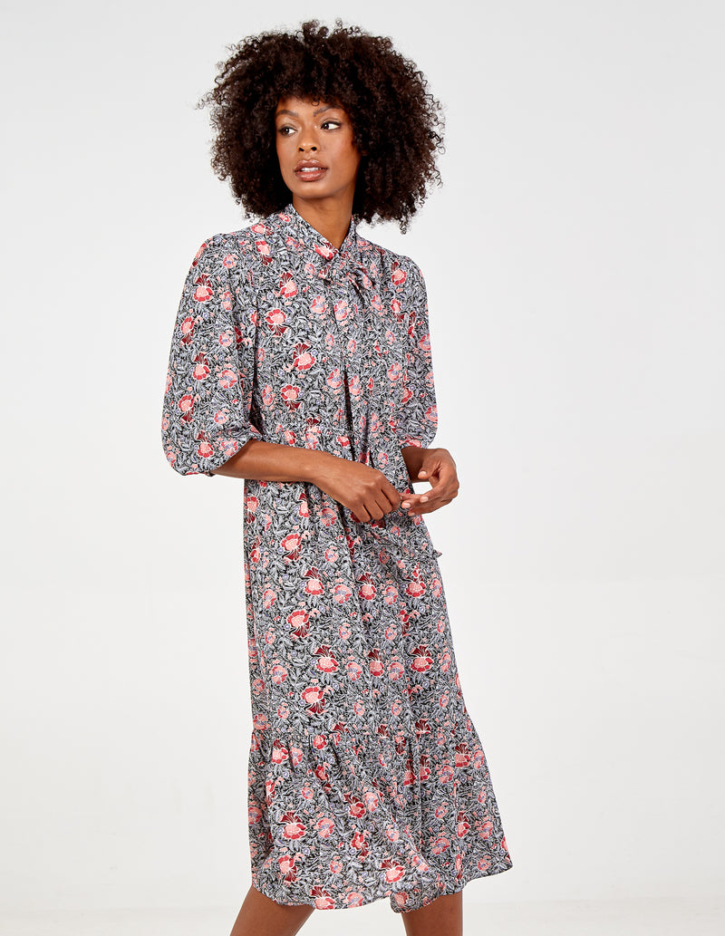 ROSALIA - Tie Neck Vintage Midi Dress