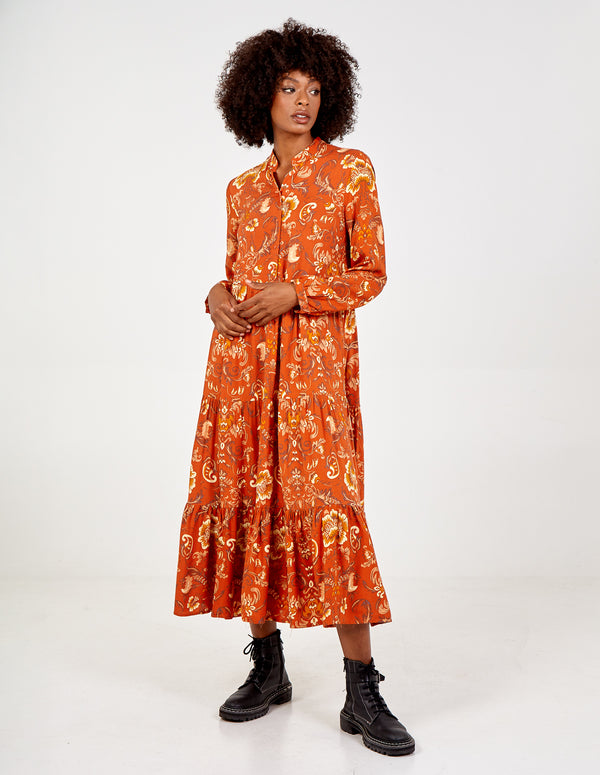 GELSOMINA - Button Front Floral Print Maxi Dress