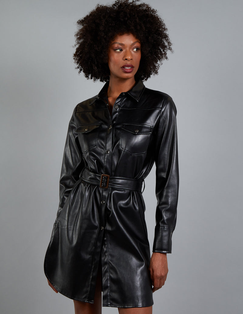 TANYA - Vegan Leather Belted Shirt Dress