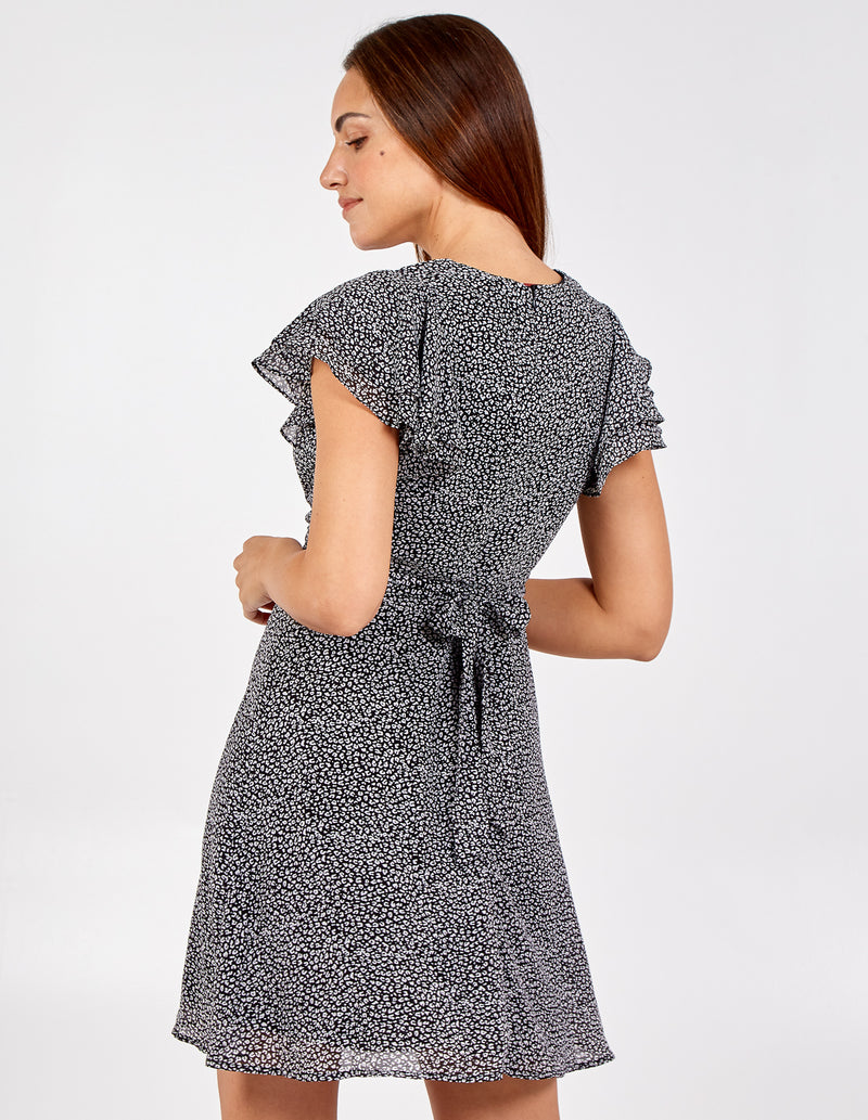 CATERINA - Animal Print Wrap Front Frill Sleeve Dress