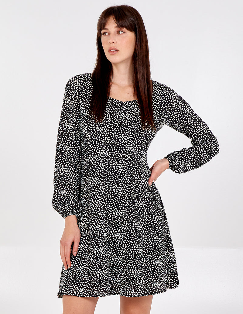 NINETTA - Abstract Spot Sweetheart Neckline Dress