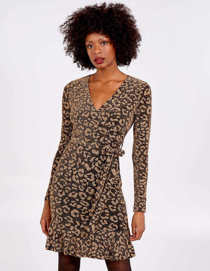 MELANIA - Animal Print Wrap Front Peplum Hem Dress