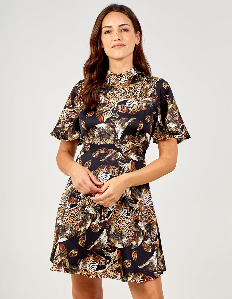 VERONICA - Oriental Print Angel Sleeve Fit & Flare Dress