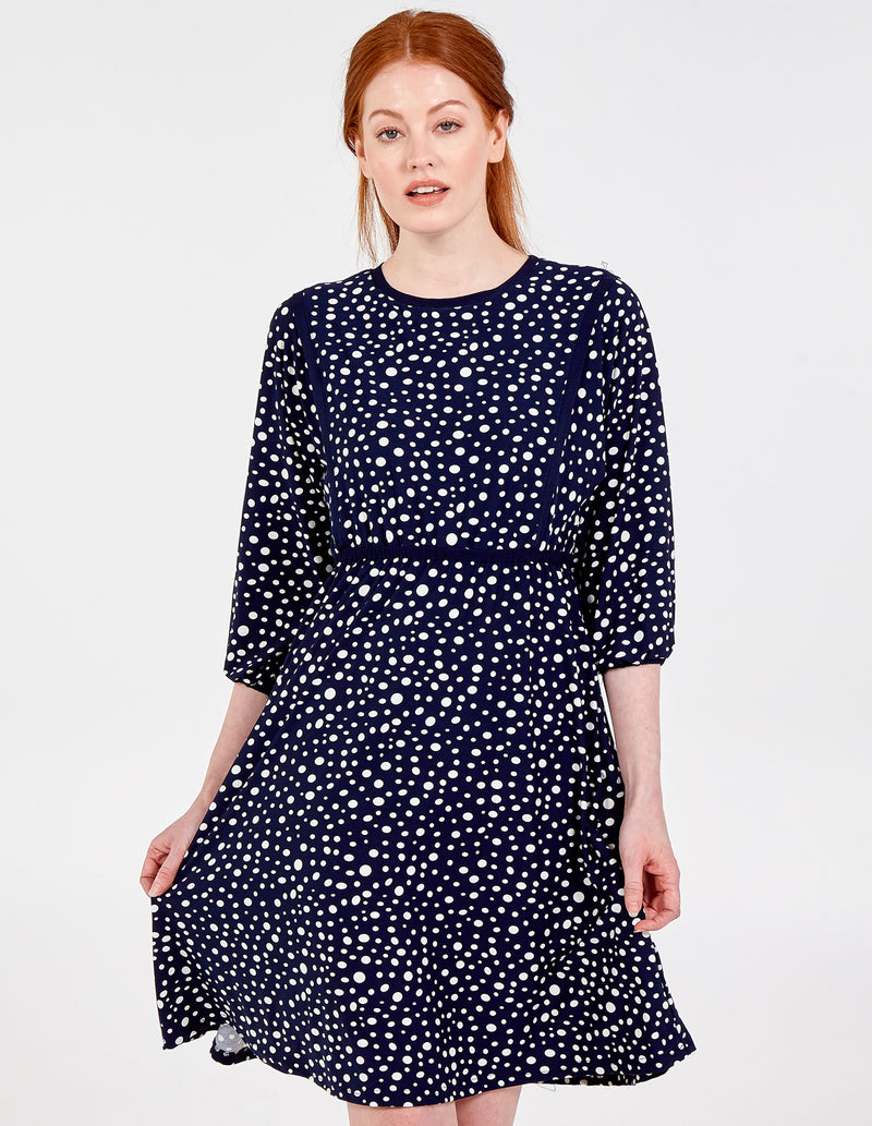TERESA - Tiered Waist Dot Print Midi Dress