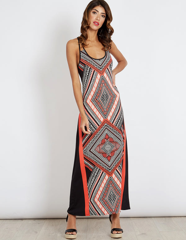 SORAYA - Aztec Detailed Back Coral Maxi Dress