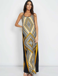 SORAYA - Aztec Detailed Back Yellow Maxi Dress