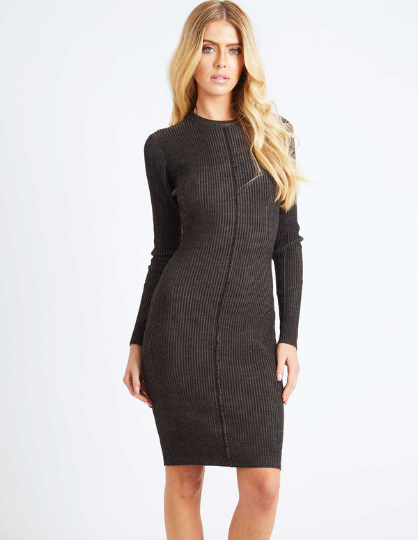 SHANTI - Midi Long Sleeve Ribbed Dress Charcoal