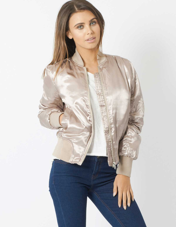 CLEO - Doeskin Bomber Jacket