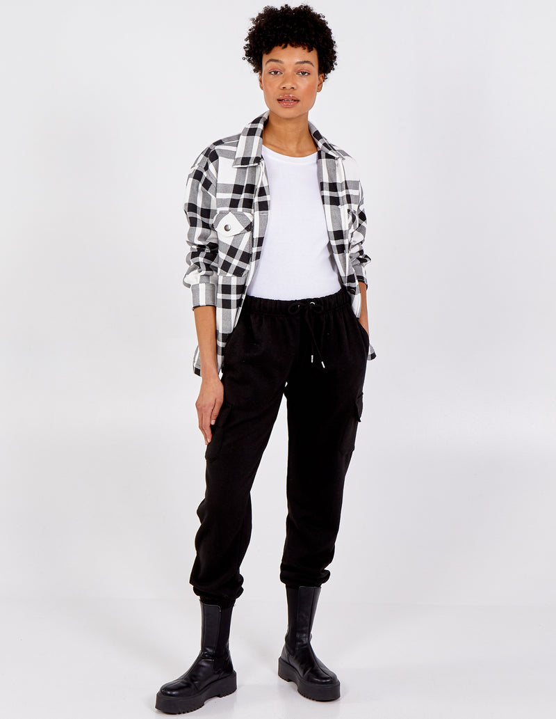 SANDY - Button Up Double Pockets Check Crop Shacket