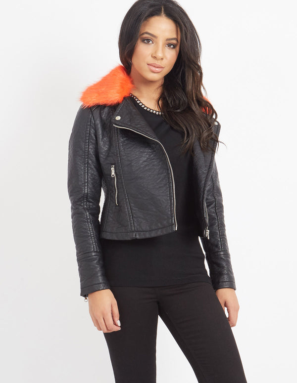 ADALENE - Orange Faux Fur Biker Jacket