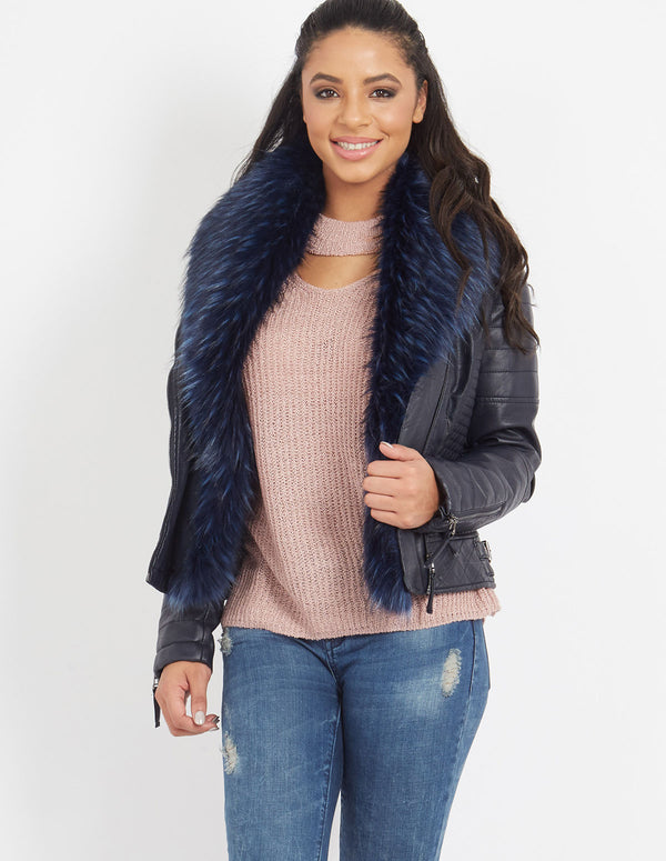 RETA - Faux Fur Collar Jacket Navy