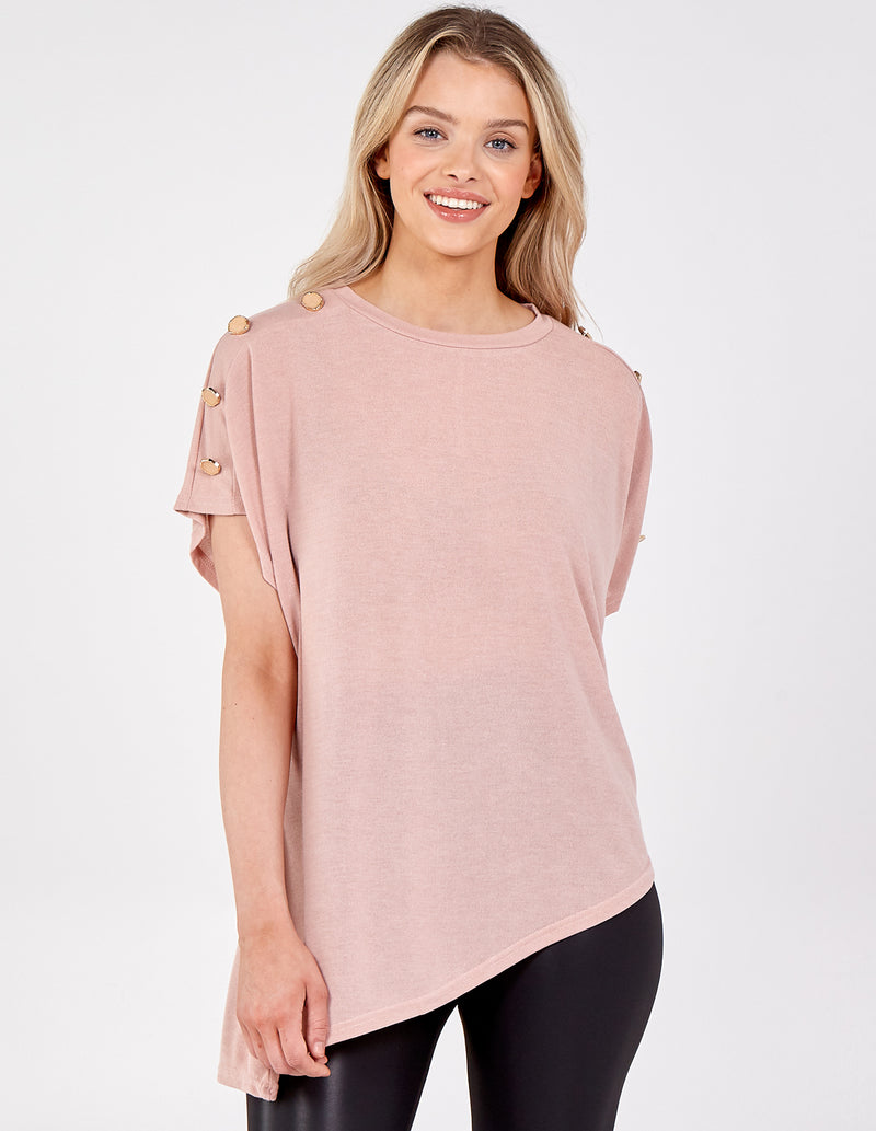 NIKOLA - Asymmetric Hem Button Shoulder Top
