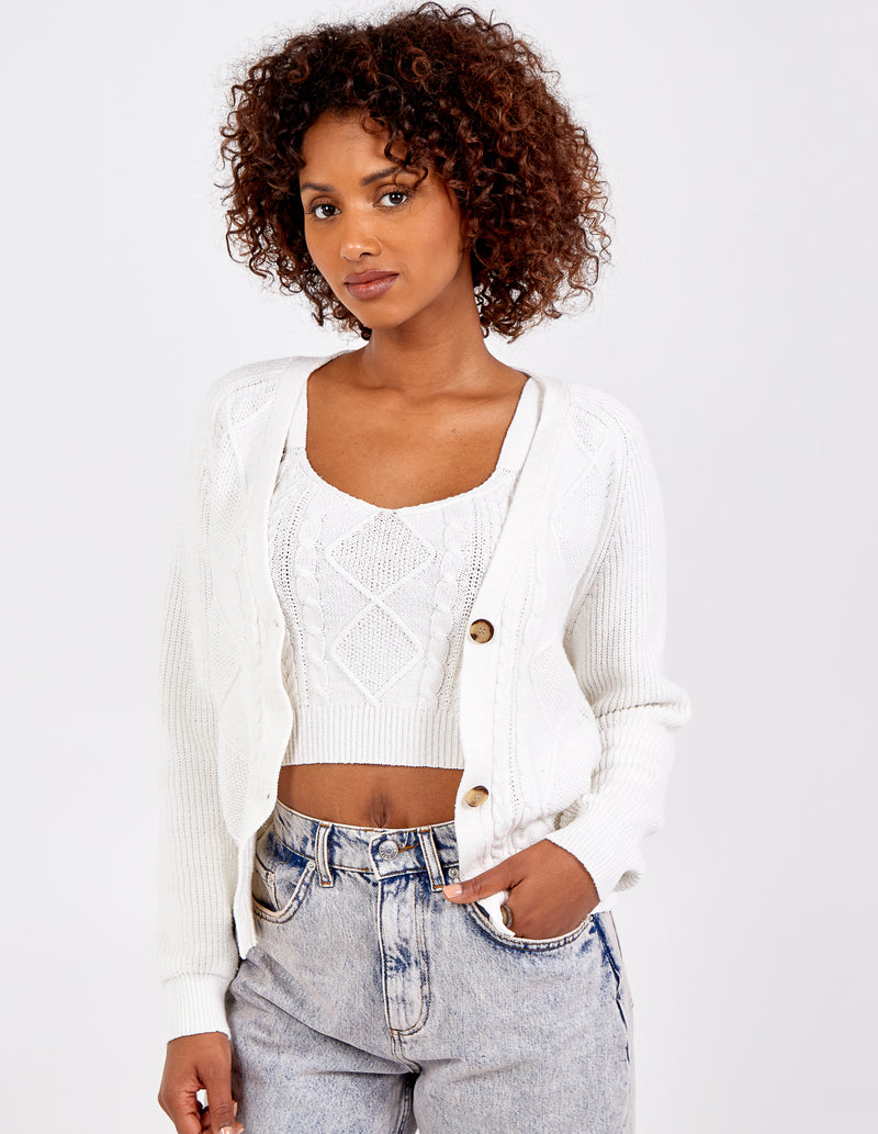 LILLY - Cable Knit Crop Top & Cardigan