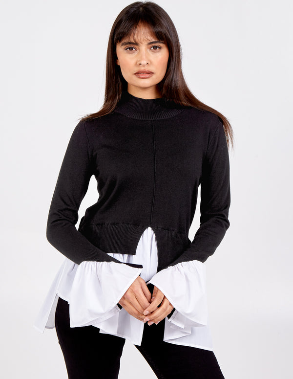 SYBIL - 2in1 Cuff & Hem Shirt Jumper