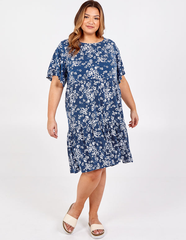 JANA - Curve Frill Sleeve Smock Dress