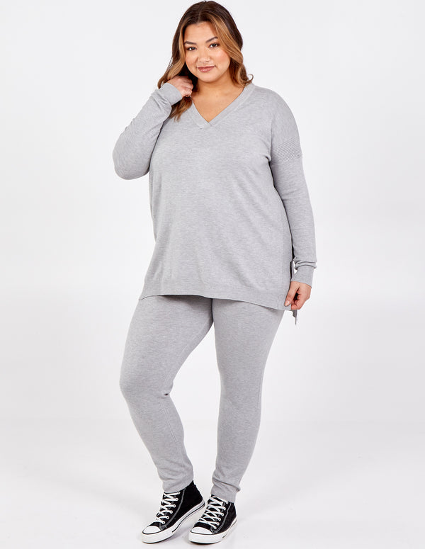 OLIWIA - Curve V Neck Rib Jumper & Leggings Set