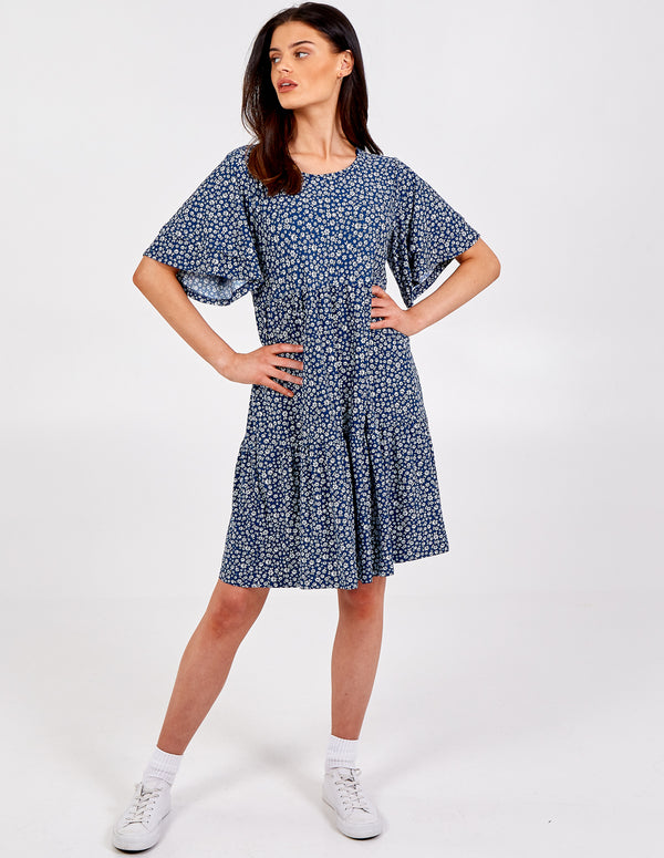 SAMANTHA - Double Frill Sleeve Smock Dress