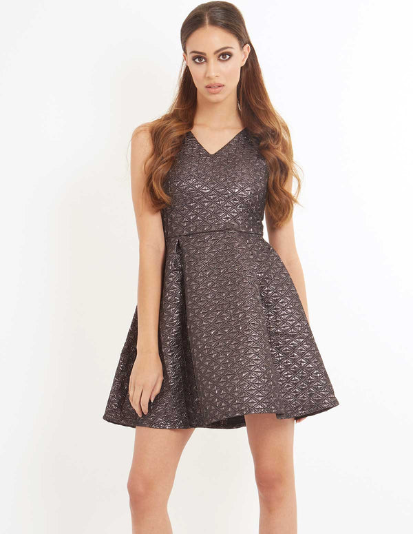 DALEILA - Glitter Jaquard Prom Dress Grey