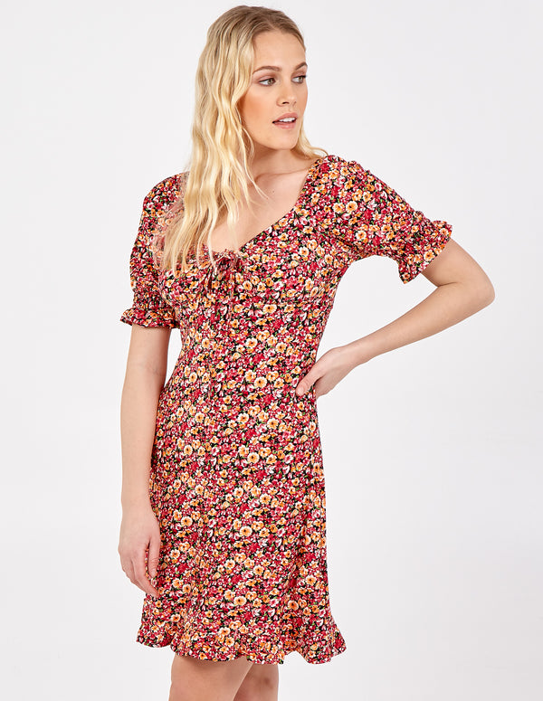 GRACE - Gathered Front Puff Sleeve Dress