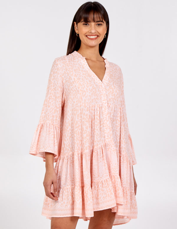 MADIHA - High Low Tiered Smock Tunic Dress