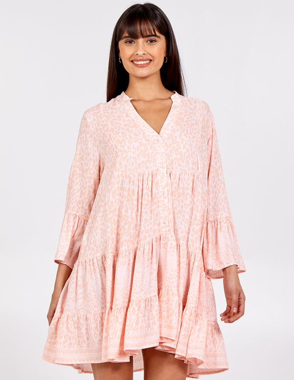 MICHAELA - High Low Tiered Smock Dress