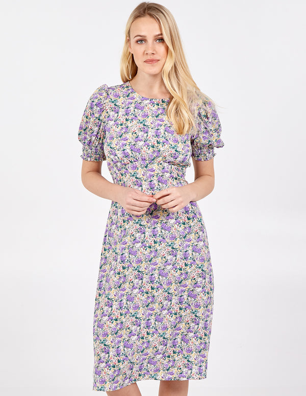 NELL - Shirring Puff Sleeve Midi Dress
