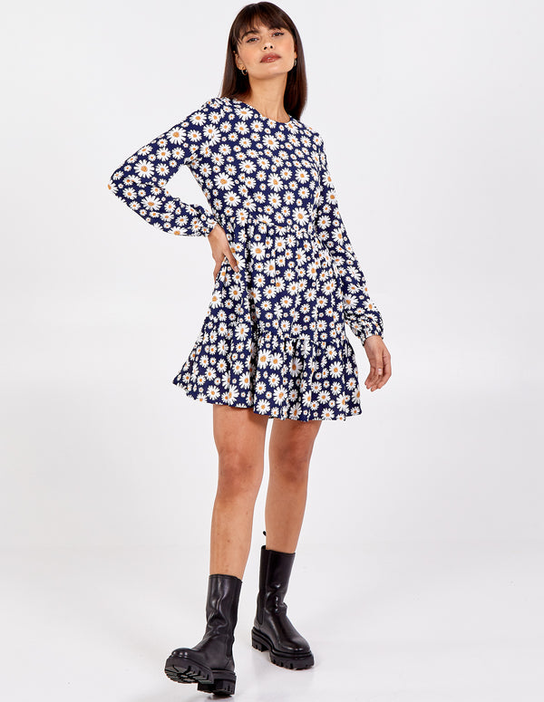 THALIA - Cute Daisy Print Smock Dress