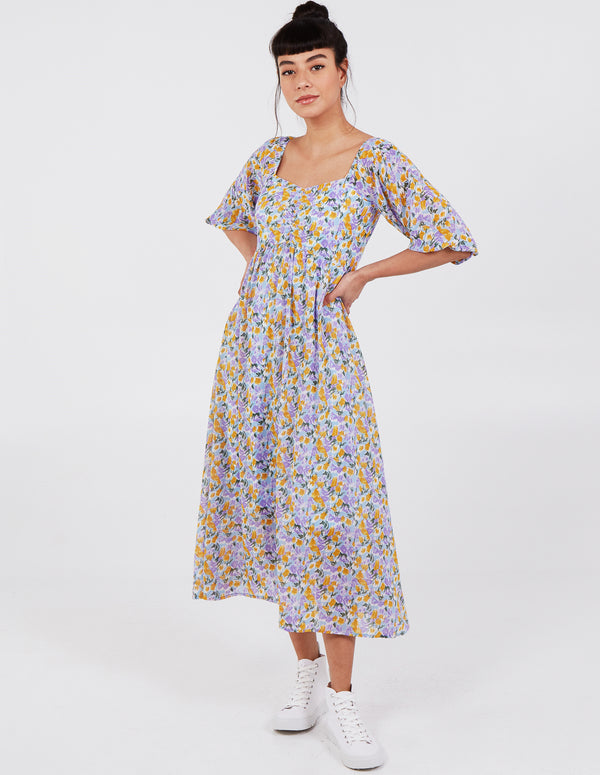 HALLIE - Ruched Front 3/4 Sleeve Midi Dress