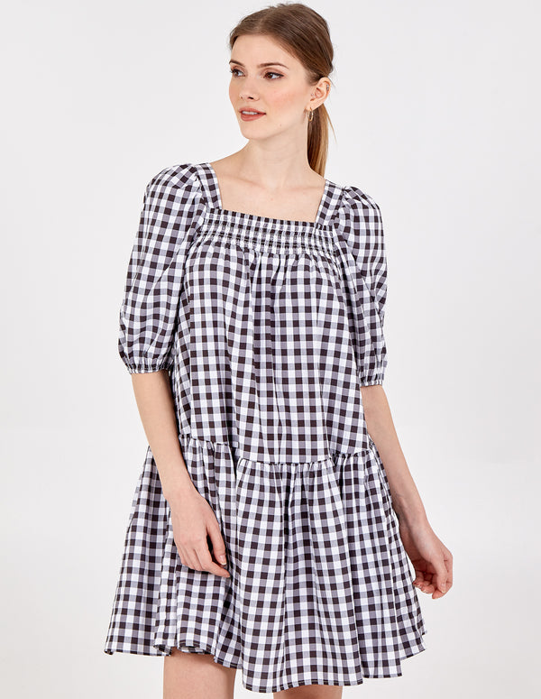 JENNIFER - Gingham Smock Dress