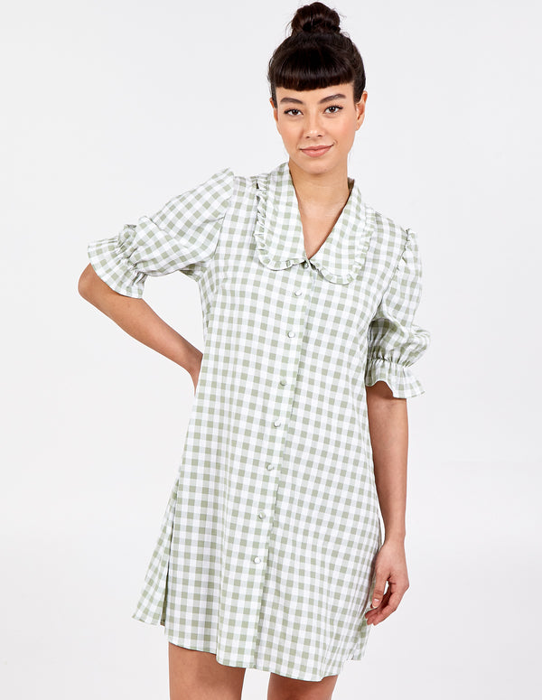 GEORGIE - Gingham Frill Collar Puff Short Sleeve Dress